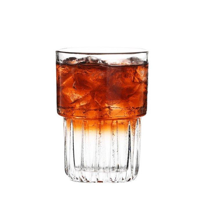999玻璃杯 威士忌杯 酒杯 啤酒杯 酒吧 ins網紅咖啡廳條紋玻璃杯 咖啡杯冷萃杯冷飲杯早餐杯子泡茶牛奶杯