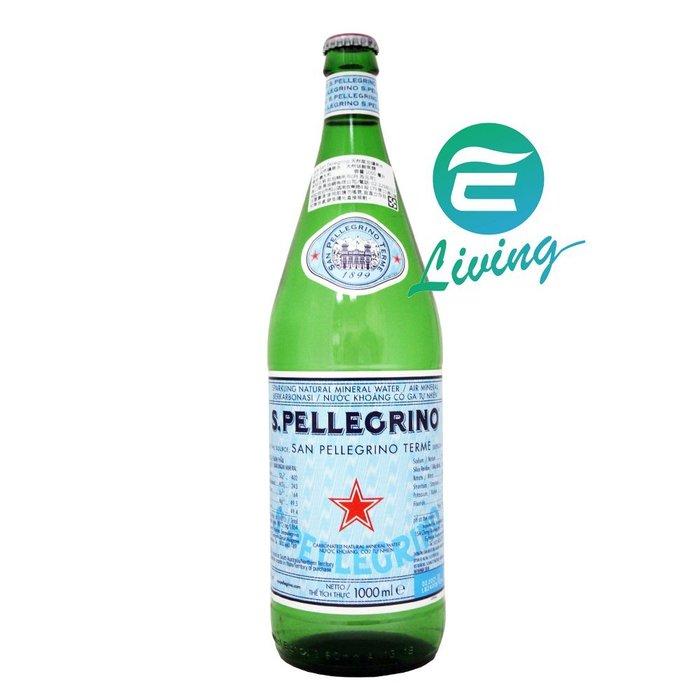 【易油網】S.Pellegrino天然氣泡礦泉水 氣泡水 (1000ml)-玻璃瓶 #18602