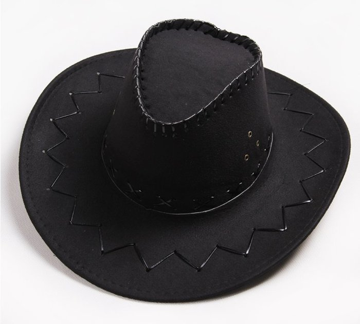 【二鹿帽飾】仿麂皮 皮繩滾邊 舞台表演 牛仔帽/ 西部牛仔帽/ 狩獵帽/表演帽/國小以上表演專用帽-黑色