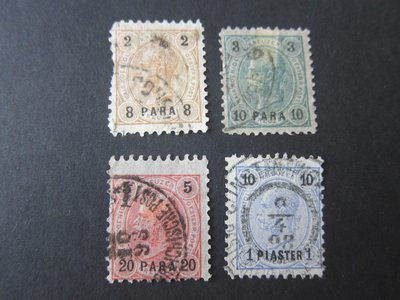 【雲品】奧地利Austria offices in Turkey 1890 Sc 20-3 FU 庫號#64988