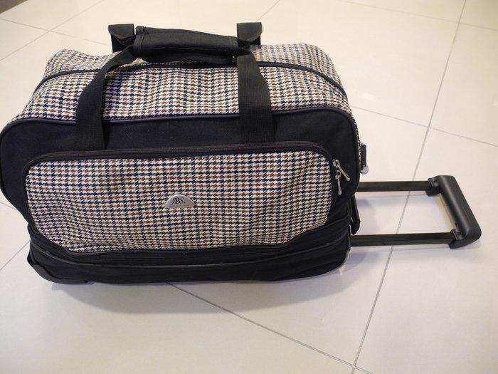 ABS二輪拉桿拖行袋 靜音輪 防水帆布尼龍託運行李袋 重物二輪旅行袋 內部乾淨無破損極新實用耐用 萊爾富免運