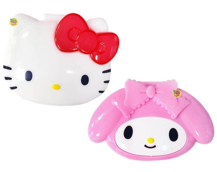 【JPGO】特價-日本進口 三麗鷗 造型四格小物收納盒~美樂蒂270 Kitty263
