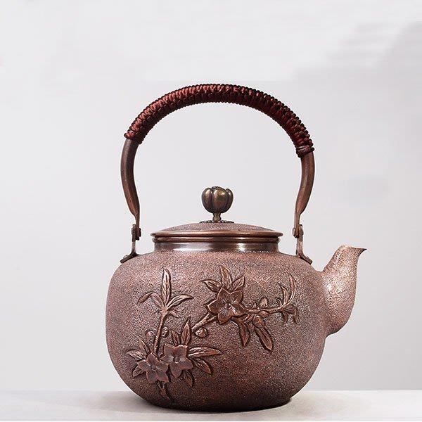 5Cgo【茗道】含稅會員有優惠 546274374015 山德堂茶壺茶杯泡茶茶海大銅壺1.5L大容量燒水壺沏茶紫銅壺加厚