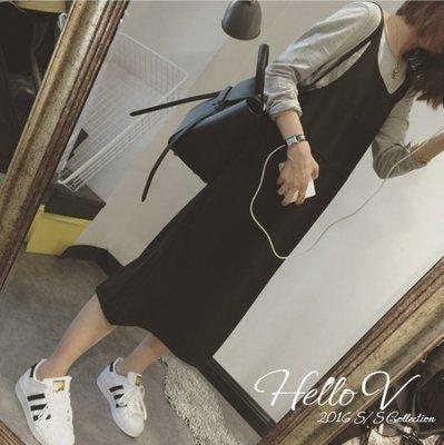 Hello V 現貨韓國製經典百搭可愛復古寬鬆休閒中長版吊帶裙*黑色*【D0319-74】