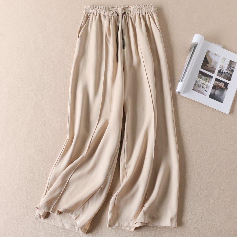 【An Ju Shop】外單 歐美西班牙風 清涼絲滑垂感夏簡約繫帶鬆緊高腰寬鬆闊腿休閒褲女拖地長褲~OE212025