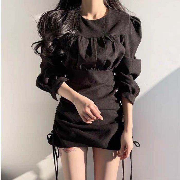 皺褶抽繩泡袖顯瘦連身裙〰️➰🎶棉質磨砂手感〰️