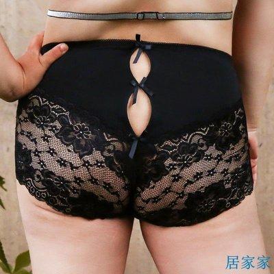 居家家 性感內褲大碼女士蕾絲透明網紗誘惑中腰提臀無痕破洞三角褲