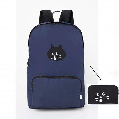 【現貨】 日雜附錄 Ne-net Ne-net  Nya 驚訝貓 後背包 雙肩包 運動包 收納包 側背包 可折疊 黑色