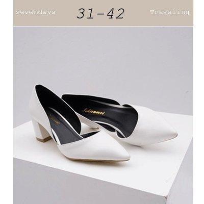 大尺碼女鞋小尺碼女鞋歐美風尖頭素面側挖...