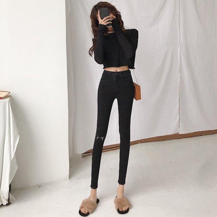 牛仔褲 2019春季新款韓版牛仔褲高腰褲子九分褲顯瘦chic小腳鉛筆褲女裝