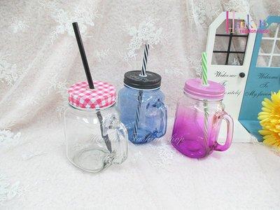 ☆[Hankaro]☆創意流行玻璃吸管梅森杯(樣品出清)