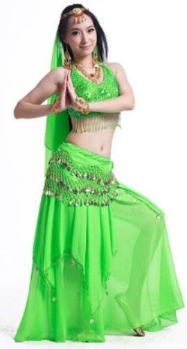 【順勢批發站】肚皮舞五花上衣+錢幣長裙(多布款)套裝組合表演服亮亮綠色系列舞蹈裙