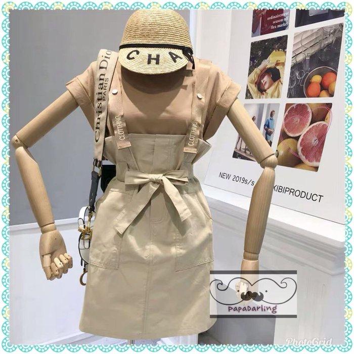 PapaDarling 19SS 時尚T恤上衣穿搭復古吊帶蝴蝶結連身裙 短袖裙裝 套裝