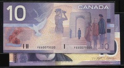 CANADA (加拿大紙幣),P102b,10-Dollars bc-63b,2002 FEE字軌,品相全新UNC