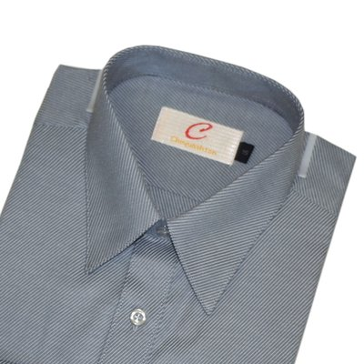 【CHINJUN-SHTON】細纖維抗皺襯衫-長袖、灰底灰斜紋紋、編號:8090