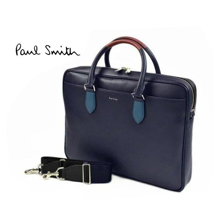 Paul Smith  ( 深藍色 )  真皮 手提包 肩背包 公事包 紳士包 中性款|100%全新正品|特價!