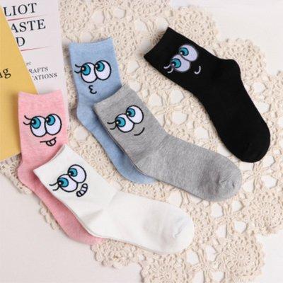 韓版超級可愛眼睛卡通超Q女襪 棉襪短襪中筒襪 純棉學生襪 流行日系舒適好穿超可愛吸引目光 k02