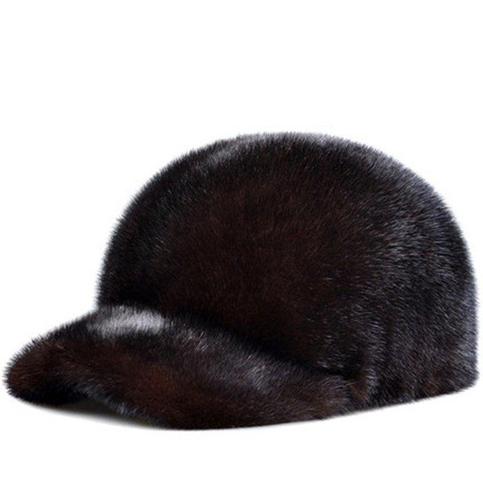 ~皮皮創~原創設計手作水貂毛皮帽。男女通用 冬季戶外保暖加厚夾棉裘皮帽子 一貂一帽 整張貂皮製作