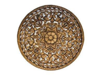 INPHIC-東南亞 家居飾品 泰國風格 木雕 掛飾 蓮花鏤空板 圓形