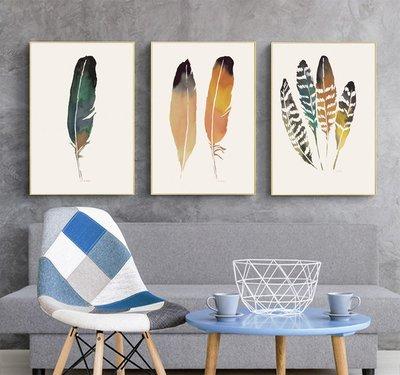 三幅一組油畫布 羽毛 畫芯/畫布/30X40☺暖暖屋☺傢居藝術館