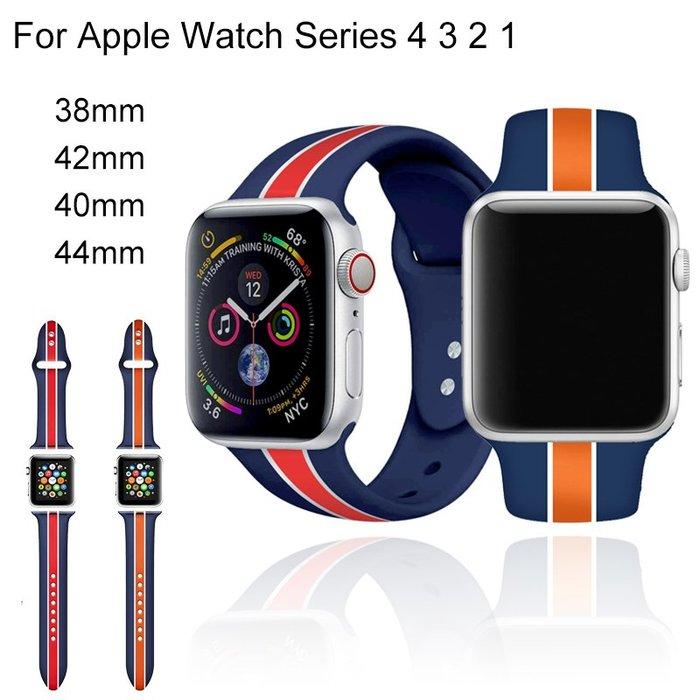 衣萊時尚-適用于Apple watch錶帶硅膠運動蘋果手錶帶iwatch4 3 2 1代防水不吸汗潮iphone  series4印花腕帶男女40 44mm