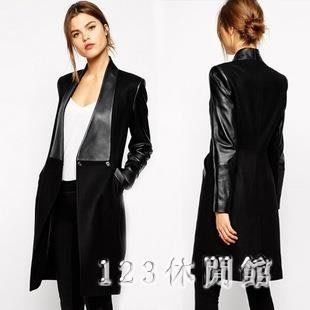大碼毛呢外套中長款新款拼接皮中長款修身毛呢大衣呢子外套女裝 AB5916