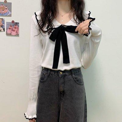 Corle韓國女裝娃娃領蝴蝶結針織衫新款2021爆款正韓洋氣法式木耳邊打底衫上衣女