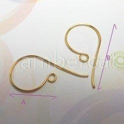 琥珀貓銀飾DIY【925純銀鍍K金材料配件】鍍24K金~耳勾~A0789~一對