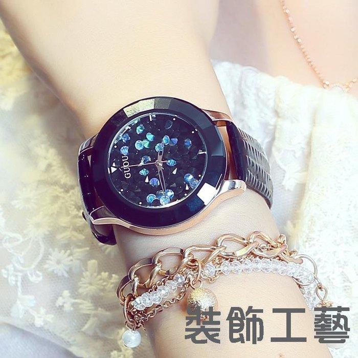香港GUOU古歐潮流時尚石英錶歐美范水鉆皮帶女士手錶8026