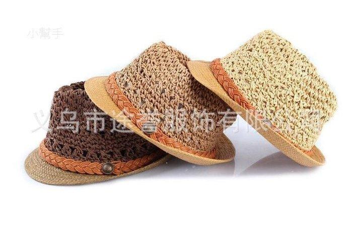 綠光街鋪 韓版兒童帽子沙灘遮陽兒童夏季草帽手鉤針帽子S258