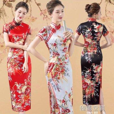 復古表演改良印花長款旗袍舞蹈演出服模特走秀禮儀年會日常旗袍裙
