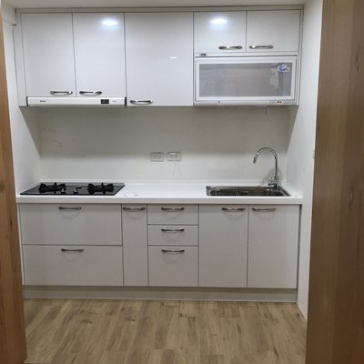 結晶五面門+韓國人造石~品質保證工廠價 門市可參觀 晶潔廚具 流理臺 系統廚具 木芯桶+上下櫃220CM 搭配豪山3機