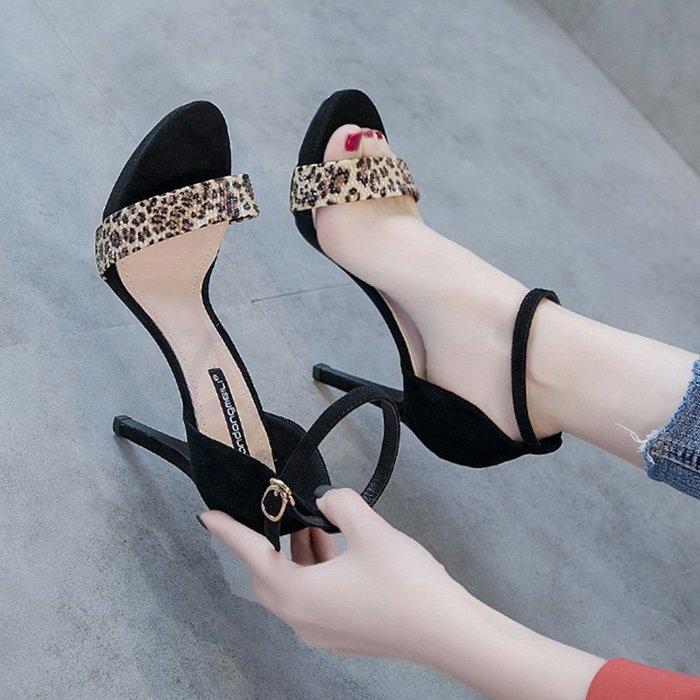 有家服飾黑色涼鞋女細跟2019新款露趾簡約細帶一字扣細跟網紅超高跟鞋10cm