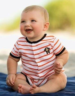【安琪拉 美國童裝/生活小舖】Carter's 橘色橫條小猴子連身衣-另有Gymboree/Oshkosh