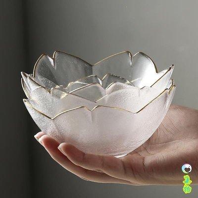 金邊櫻花碟子日式玻璃小碟子家用沙拉碗干果盤甜點碗碟蘸料碟擺拍