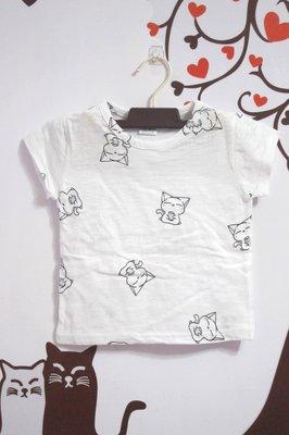 賠本出清 正韓純棉滿版悠閒下午茶貓咪圖樣短袖女童上衣/T恤/童T 尺碼 9