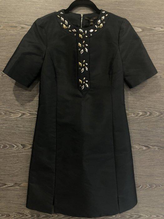 *金選名店*Louis Vuitton*LV*黑色金銀菱形釦短袖洋裝 38號