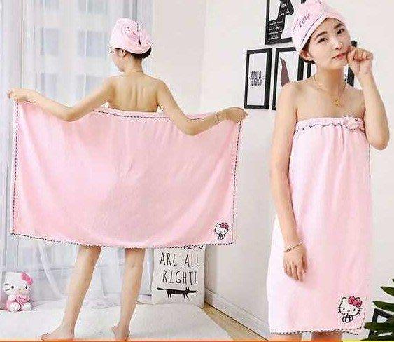 特價新hello kitty可穿浴巾成人女比純棉柔軟可愛韓版抹裹胸浴裙+幹發帽