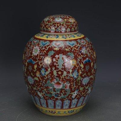 ㊣姥姥的寶藏㊣ 大清乾隆紅地粉彩手繪萬花蓋罐茶葉罐文革廠貨  古瓷古玩收藏擺件