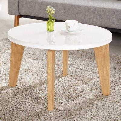 【在地人傢俱】19 美麗購-凱絲淺色木紋亮面白色雙色2.3尺大茶几/圓几 CM776-3