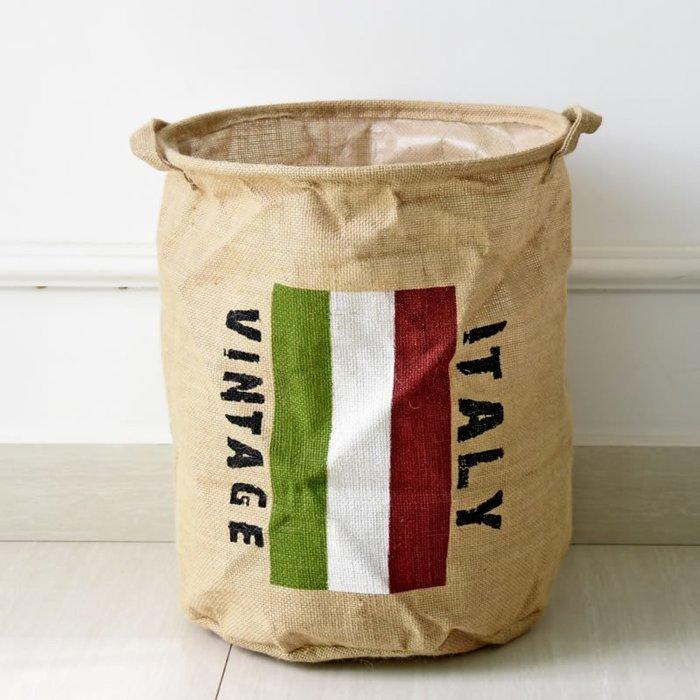 【極簡時尚】黄麻髒衣桶衣服籃國旗黄麻收納箱折疊衣服收納置物箱