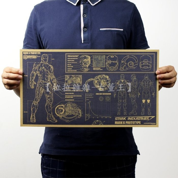 【貼貼屋】復仇者聯盟 IRON MAN 鋼鐵人 設計稿 懷舊復古 牛皮紙海報 裝飾壁貼 電影海報 3