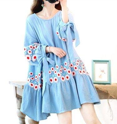 【子芸芳】春夏宮廷燈籠袖蕾絲刺繡荷葉邊寬鬆大碼棉麻連衣裙娃娃衫