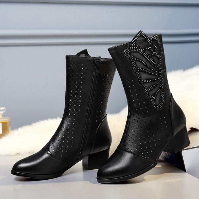 ~Linda~春秋真皮女靴鏤空網靴單靴子中筒靴中跟粗跟冬季加絨媽媽棉靴