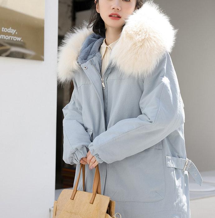 SeyeS  雜誌英倫街頭個性自然風韓妞百搭毛毛連帽長版厚鋪棉保暖外套