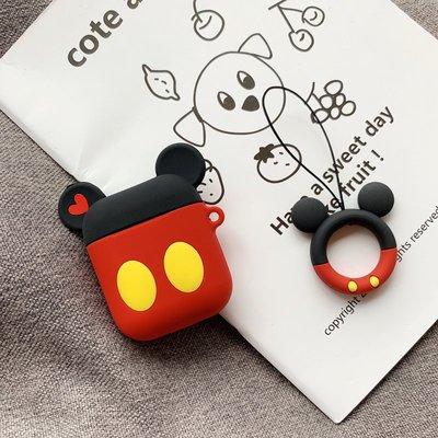 耳機套 藍牙耳機套 創意 可愛卡通情侶蘋果airpods保護套硅膠無線藍牙耳機套防摔指環掛繩