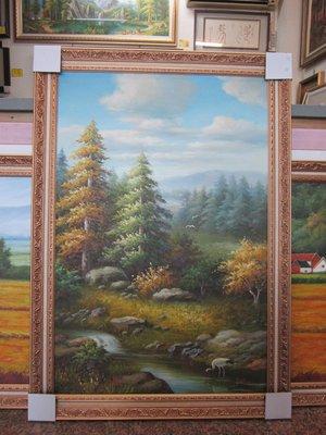 『府城畫廊-手繪油畫』歐風-山水風景畫-畫風細膩獨特-72x102-(含框價,可換框)-有實體店面-請查看關於我聯繫-