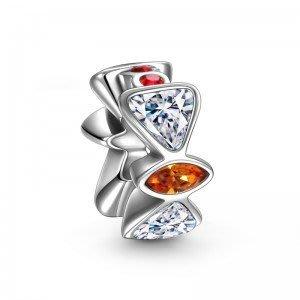 499元 **特價** SOUFEEL 紅白相間 晶鑽  串珠 純銀 適用PANDORA
