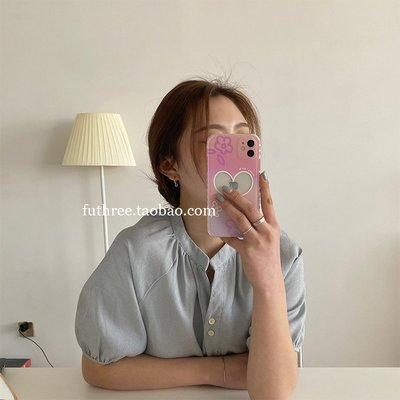 手機造型館 夢幻紫粉小花愛心相框直邊手機殼適用iPhone12軟78p蘋果XR