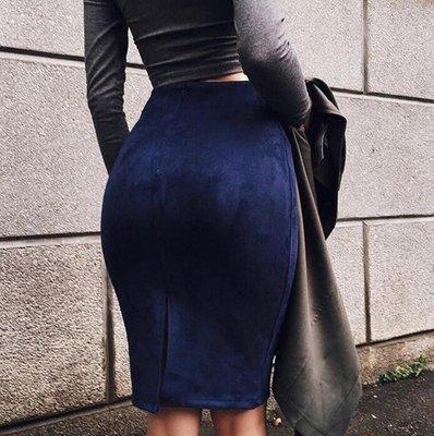 多色彈性蜜桃絨包臀窄裙 - Mellowest 梅洛選物